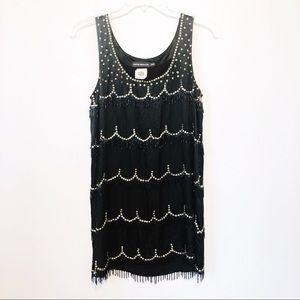 Antik Batik Black Silk Beaded Fringe Flapper Dress